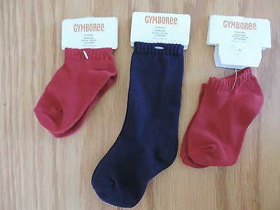 NWT Gymboree Little Boy's Classic Basic Red Navy Socks 3 pr Lot 12-24 Months
