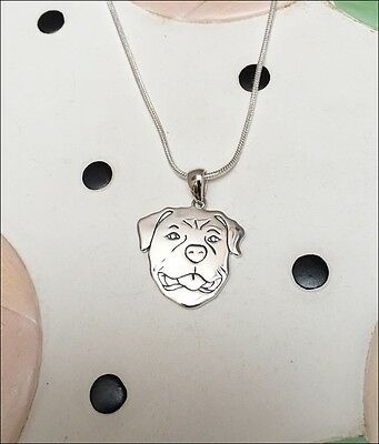 Rottweiler Sterling Silver Charm Necklace - New - FREE SHIPPING
