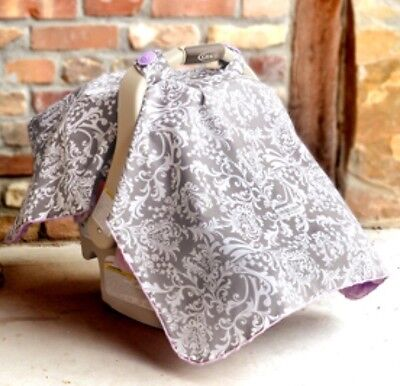 Lavender Purple and Gray Infant Carseat Canopy Cover Minky Dot Belle Print