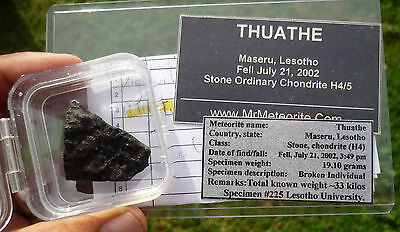 19.1 gram THUATHE METEORITE - 2002 fall in Lesotho - ex Mike Farmer Specimen