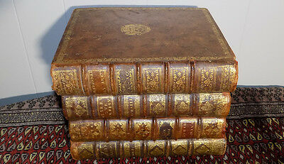 REAL antique books Tantalus secret decanter safe French leather bound set rare