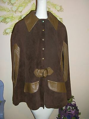 Vintage 60's-70's? Brown Leather Cape, pointed collar by Sears