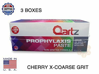 Qartz Prophy Paste Cups Cherry X-Coarse 200/box Dental W/flouride - 3 Boxes