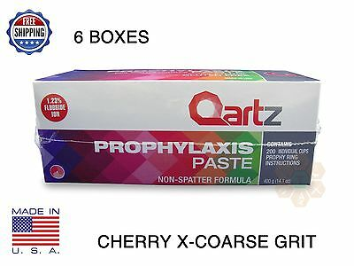Qartz Prophy Paste Cups Cherry X-Coarse 200/box Dental W/flouride - 6 Boxes