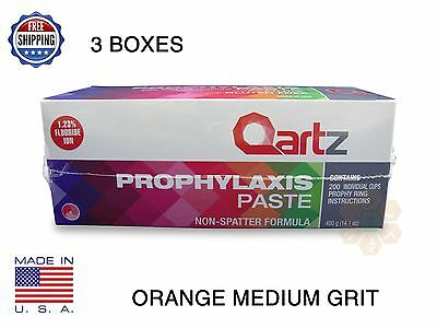 Qartz Prophy Paste Cups Orange Medium 200/box Dental W/flouride - 3 Boxes