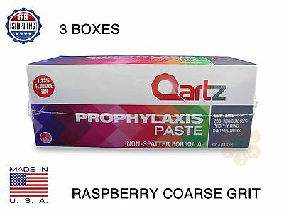 Qartz Prophy Paste Cups Raspberry Coarse 200/box  Dental W/flouride - 3 Boxes