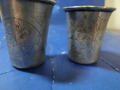 Antique 84 silver shot glasses 2 each 1800s hand tooled very nice 1.67 Troy OZ