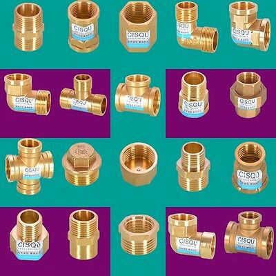 """1pc 3/4"""" Brass Tee Cross Fitting Straight Elbow Plug Reducer F x M Pipe Fitting"""