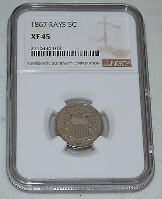 1867 5C with Rays Shield Nickel Graded by NGC as XF 45
