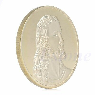 Gold Plated Jesus The Last Souvenir Supper Token Coin Art Collectible Christmas
