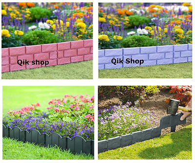 Garden Plastic Fence, Hammer in Lawn Edge Brick Effect, Cobbled Stone Effect