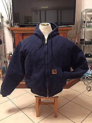 Carhartt Men Work Jacket J130 Quilted Lined Heavy Duty Coat Blue  Size Large