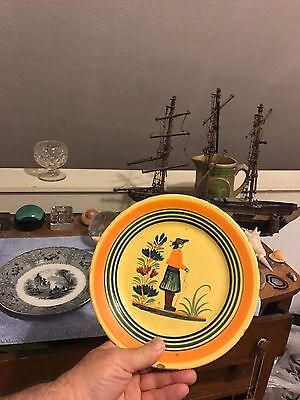 """Early 19th C.~QUIMPER~French """"Faience-Style"""" Dinner Plate~Colonial Man Graphic!"""