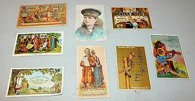 8 antique Victorian advertising trade cards-Black Americana-Drugs+more