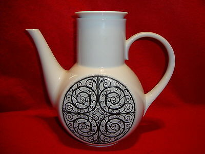 Noritake Japan Black & White ESPERANZA #6924 COFFEE POT W/ LID Mint Condition !