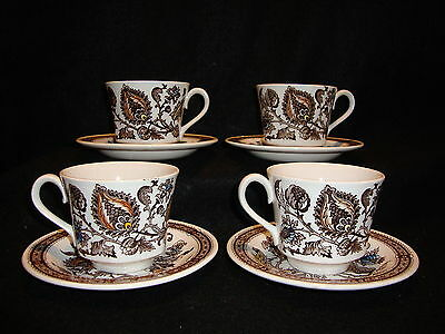 Ridgway JACOBEAN Brown Ironstone CUPS & SAUCERS Lot x 4 Staffordshire England