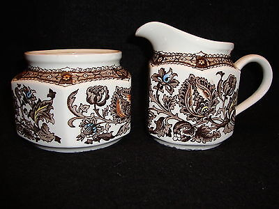 Ridgway JACOBEAN Brown Ironstone CREAM JUG CREAMER & SUGAR Staffordshire England