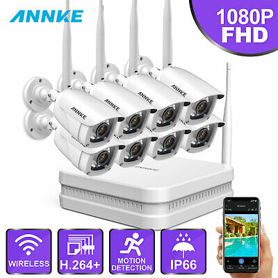 ANNKE 8CH 720P Network NVR 8x Bullet 2500TVL Wireless IP Security WIFI Camera HD