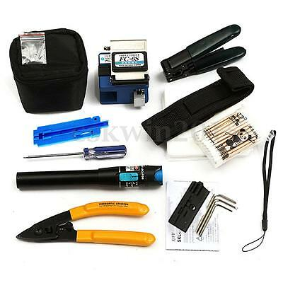 11Pcs/Set FTTH Splice Fiber Optic Tool Kit Fibre Stripping FC-6S Cleaver Crimper
