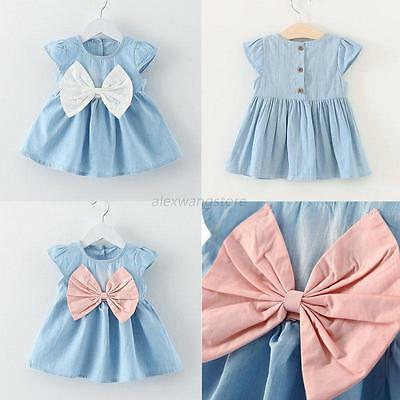 Flower Girl Kid Baby Summer Bowknot Princess Dress Party Wedding Pageant Dresses