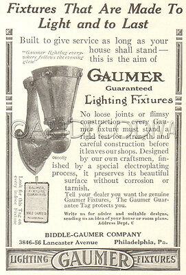 Antique 1916 Biddle Gaumer Lighting Fixtures LIGHT Wall Sconce Interior Decor Ad