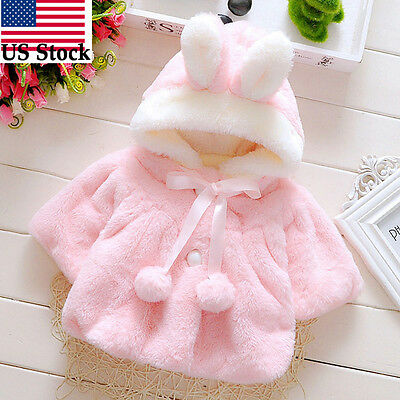 Baby Girls Infant Cute Solid Hooded Fur Warm Coat Cloak Jacket Thicken Clothes