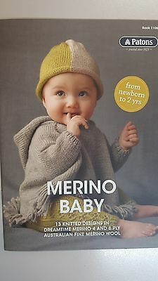 Patons Pattern Book #1106 Merino Baby 13 Designs to Knit in Dreamtime 4 & 8 Ply