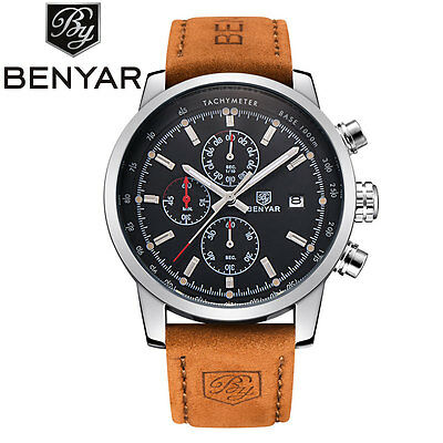 BENYAR Luxury Men's Date Pilot Quartz Wrist Watch Military Leather Band Gift
