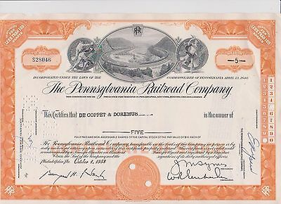 Pennsylvania Railroad Company Pictorial Stock Certificate 5 Shares Vintage