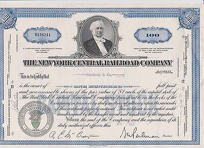 New York Central Railroad Company, 1966 Stock Certificate 100 Shares