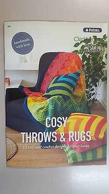 Unique Pattern Book #360 Cosy Throws & Rugs 11 Designs to Knit & Crochet