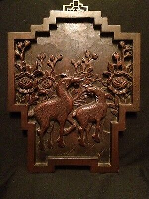 """Antique! 19C Chinese Hand Carved  Wall Plaque """"Poppy Flower Inspire Sexual Mood"""""""