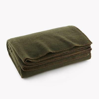 US Military Style Wool Blanket Olive Drab Green Fire Retardant Army Soldier New