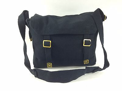 Heavy Duty Canvas Messenger Shoulder Bag Webbing Motorbike Camping BLACK Tote
