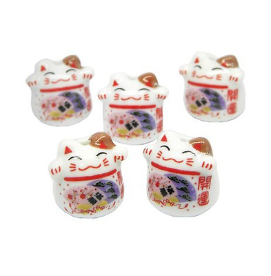 Jzcky Shzrp Ceramic Beads with Lucky Cat Pattern for Making Pendant