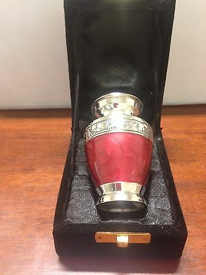 "Memorial Keepsake Cremation Ashes Urn 3"" Small - Red Nickel"
