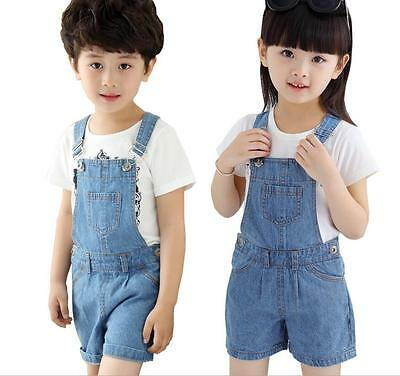 Kids Girls Boys Childrens Dungarees Denim Shorts Jeans jumpsuit Pants Overalls