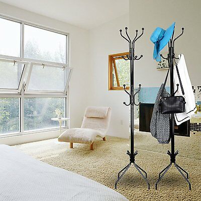 15 Hooks Tree style Metal Coat Rack Stand Hat Bag Clothes Umbrella Black