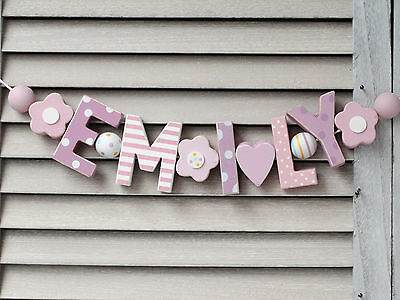 """""""emily"""" Wooden Wall Letters Baby Name Shower Nursery Decor Personalised  Shabby"""