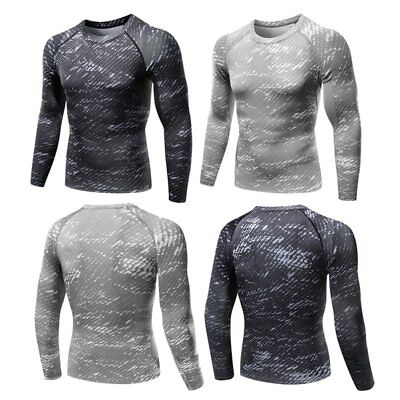 Men's Long Sleeve Athletic Sports Shirt Compression Running Jogging Top T-Shirts