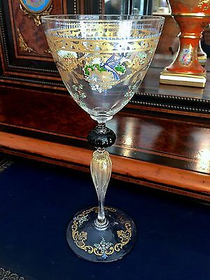 Tall Salviati Wine Glass With Decoration by Moser 1 of 2
