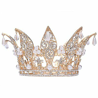 "Santfe 3"" Height Leaf Crystal Rhinestone Faux Pearl Full Crown Tiara Gold Plated"