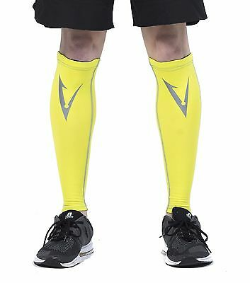 Compression Leg Calf and Shin Sleeves Anti Slip Braces Stockings Tights Hi-Vis