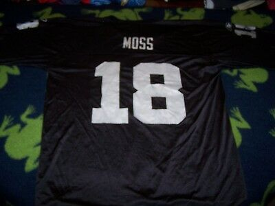 RANDY MOSS #18 Oakland Raiders BLACKSILVER Jersey Sz Men's LARGE