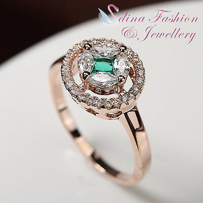18K Rose Gold GF Made With Swarovski Crystal Hollow Out Star Emerald Halo Ring