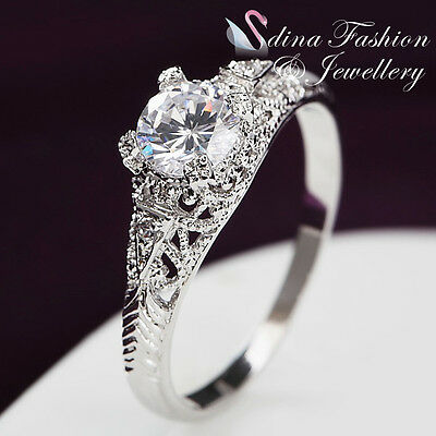 18K White Gold plated AAA Grade Cubic Zirconia Vintage HollowOut Engagement Ring