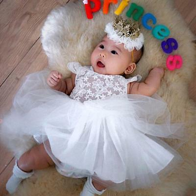 Newborn Baby Girl Princess Dress Tulle Wedding Party Gown Christening Tutu Dress