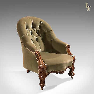 Antique Salon Chair, Early Victorian, Button Back, Walnut, English, c.1840