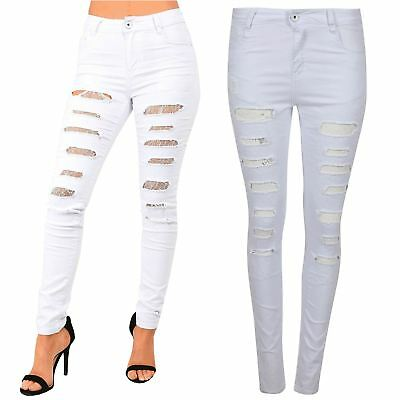 Womens Ladies Skinny Laser Cut Out Ripped Destroyed High Waist Pants Denim Jeans