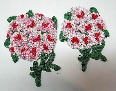 2 Vintage Glass Beaded Beady Flower Bouquet Pinks Sew On's Patches OLD! D3